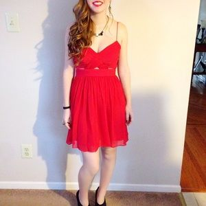 Red Dress w/ Mesh Inserts